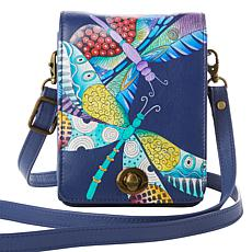 """As Is"" Anuschka Hand Painted Leather Crossbody Bag"