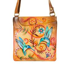 """As Is"" Anuschka Hand-Painted Leather Crossbody with Front Pocket"