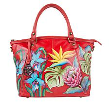 """As Is"" Anuschka Hand Painted Leather Double-Handle Tote"