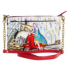"""""""As Is"""" Anuschka Hand Painted Leather Double-Zip Crossbody"""