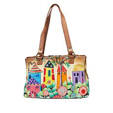"""As Is"" Anuschka Hand-Painted Leather Multi-Compartment Tote"