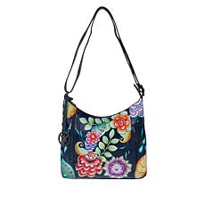 """As Is"" Anuschka Hand-Painted Leather Shoulder Bag with Accessories"