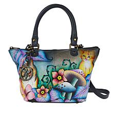 """As Is"" Anuschka Hand-Painted Leather Shoulder Tote with Accessories"