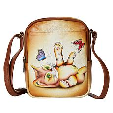 """""""As Is"""" Anuschka Hand-Painted Leather Travel Crossbody"""