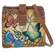 """""""As Is"""" Anuschka Hand-Painted Leather Tri-Compartment Crossbody Bag"""