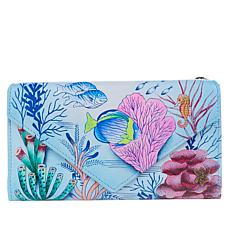 """""""As Is"""" Anuschka Hand-Painted Leather Trifold Wallet"""