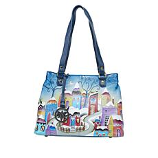 """""""As Is"""" Anuschka Hand-Painted Leather Twin Compartment Shopper"""