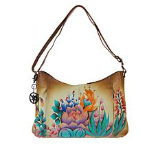 """As Is"" Anuschka Hand-Painted Leather Zip-Front Hobo with Accessories"