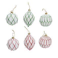 """""""As Is"""" august & leo Glass Geometric Ornaments - Set of 6"""