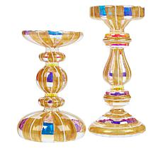 """""""As Is"""" August & Leo Set of 2 Glass LED Candle Holders"""