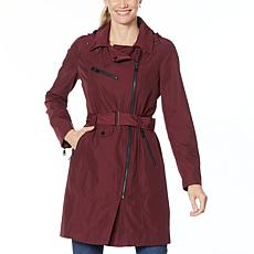 """As Is"" Avec Les Filles Belted Moto Trench with Hooded Neckline"