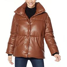 """As Is"" Avec Les Filles Faux Leather Puffer Jacket"