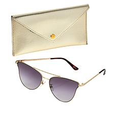 """""""As Is"""" Bethenny Catviator Sunglasses with Case and Cleaning Cloth"""