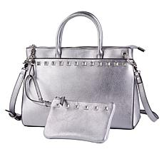 """As Is"" Carlos by Carlos Santana Studded Satchel with Wristlet Pouch"
