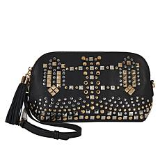 """As Is"" Clever Carriage Diva Studded Leather Crossbody Clutch"