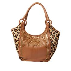 """""""As Is"""" Clever Carriage Majestic Leather Haircalf Leopard Handcraft..."""