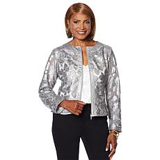 """As Is"" Colleen Lopez Best Dressed Faux Leather and Mesh Jacket"