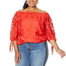 """As Is"" Colleen Lopez Burnout Convertible Neck Blouson Top"