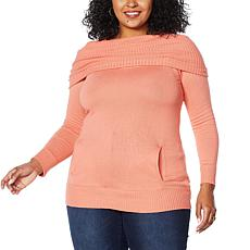 """""""As Is"""" Colleen Lopez Convertible Neck Pullover Sweater with Pockets"""