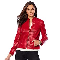 """As Is"" Colleen Lopez Dream Weaver Faux Leather Woven Jacket"