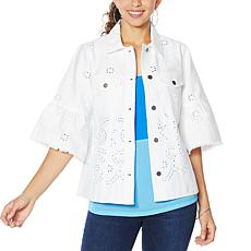 """As Is"" Colleen Lopez Embroidered Eyelet Shirt Jacket"