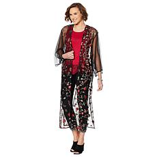 """""""As Is"""" Colleen Lopez Embroidered Mesh Duster"""