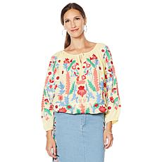 """As Is"" Colleen Lopez Embroidered Peasant Blouse"