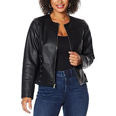 """As Is"" Colleen Lopez Faux Leather Jacket with Criss Cross Detail"