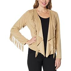 """""""As Is"""" Colleen Lopez Faux Suede Fringe Jacket"""