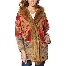 """As Is"" Colleen Lopez Hooded Southwest Print Coat with Faux Fur Trim"