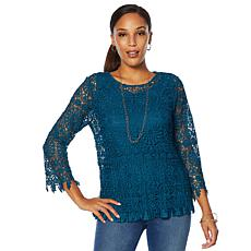 """""""As Is"""" Colleen Lopez Lace Top with Pleated Tank"""