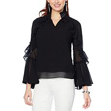 """As Is"" Colleen Lopez Long-Sleeve Beaded Ruffle Top"