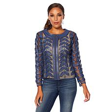"""""""As Is"""" Colleen Lopez Modern Mesh Faux Leather Leaf Jacket"""