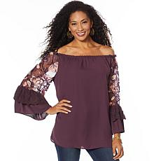 """As Is"" Colleen Lopez Off-Shoulder Embroidered Sleeve Blouse"