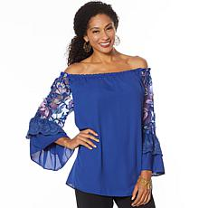 """""""As Is"""" Colleen Lopez Off-Shoulder Embroidered Sleeve Blouse"""