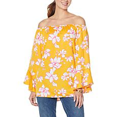 """As Is"" Colleen Lopez Off-the-Shoulder Flutter-Sleeve Print Top"
