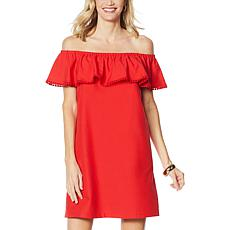 """""""As Is"""" Colleen Lopez Palm Paradise Ruffle Off-the-Shoulder Dress"""