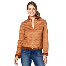 """""""As Is"""" Colleen Lopez Perforated Faux Suede Jacket"""