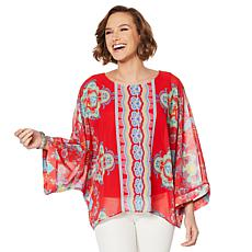 """""""As Is"""" Colleen Lopez Printed Poncho Top with Tank"""