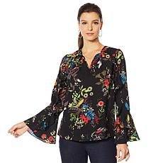 """As Is"" Colleen Lopez Printed Ruffle Blouse"