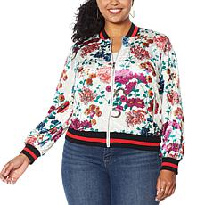 """As Is"" Colleen Lopez Printed Velvet Bomber Jacket"