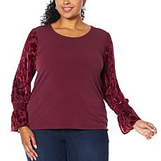 """As Is"" Colleen Lopez Sheer Burnout Puff-Sleeve Top"