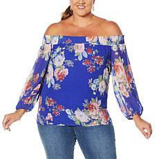 """As Is"" Colleen Lopez Smocked Off-the-Shoulder Peasant Top"