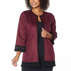 """""""As Is"""" Colleen Lopez Sueded Topper Jacket with Fringe Detail"""