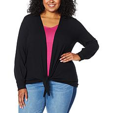 """As Is"" Colleen Lopez Tie-Front Sweater Knit Topper"