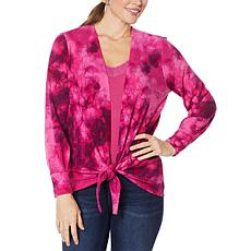 """""""As Is"""" Colleen Lopez Tie-Front Sweater Knit Topper"""