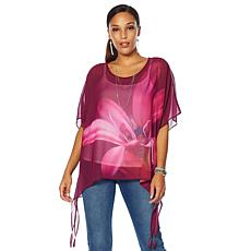 """""""As Is"""" Colleen Lopez Tropical Charm Printed Poncho Top"""