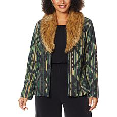 """As Is"" Colleen Lopez Wool-Blend Coat with Faux Fur Collar"