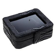 """As Is"" Colleen's Prestige™ Croco-Embossed Black Travel Jewelry Box"