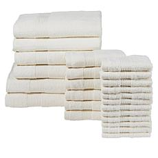 """As Is"" Concierge Collection 100% Cotton 24-piece Towel Set"
